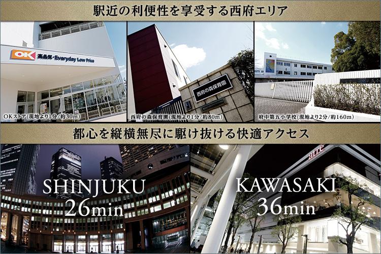 【POINT】商業施設や教育施設・公園などが徒歩圏に集約する西府駅から徒歩1分