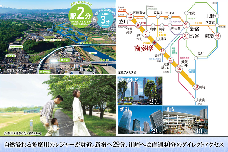 ■「多摩川」「大丸公園」まで徒歩3分の自然豊かな環境
