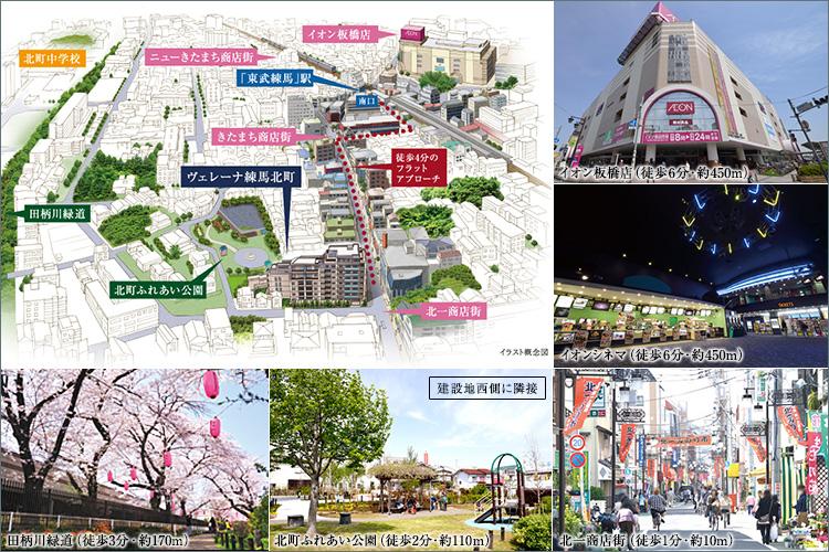駅徒歩4分。3つの商店街と豊かな緑に恵まれた、希少性の高い立地。