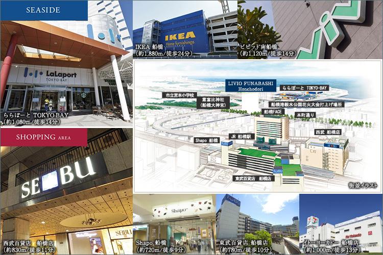 ■駅前の商業施設も生活圏。ららぽーとTOKYOBAYも徒歩圏内。