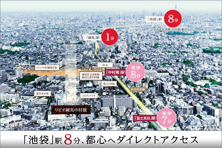 ■「池袋」駅へ8分、「新宿」駅へ14分、「渋谷」駅へ19駅、都心ターミナル駅へのアクセスが魅力。