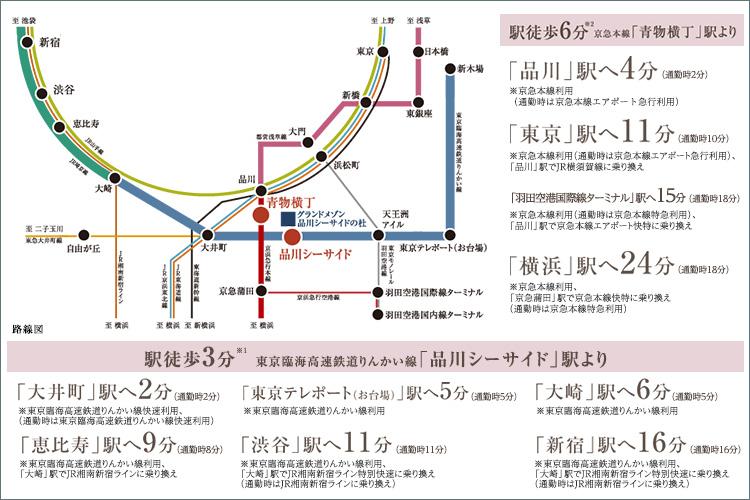 2駅2路線を使いこなせば、品川はもちろん、渋谷、新宿、お台場、横浜へもダイレクトにつながります。
