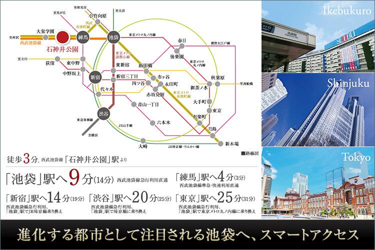 「池袋」へ直通9分のスマートアクセス。「池袋」でJRに乗り換えれば、「新宿」や「東京」へも便利にアクセスできます。さらに、東京メトロ副都心線の乗り入れにより、渋谷はもちろん、元町・中華街へも直行。都心へ、横浜へ、毎日のフットワークが大きく広がります。