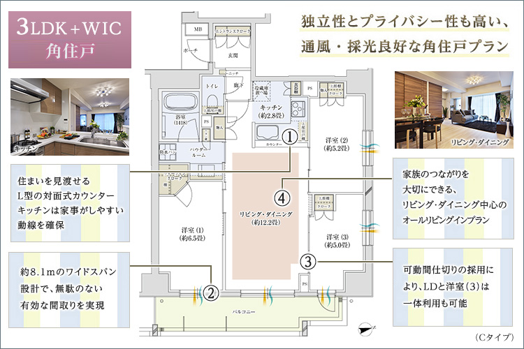 洋室(2)の可動間仕切りを開け放つとリビング・ダイニングと一体の大型空間へ。