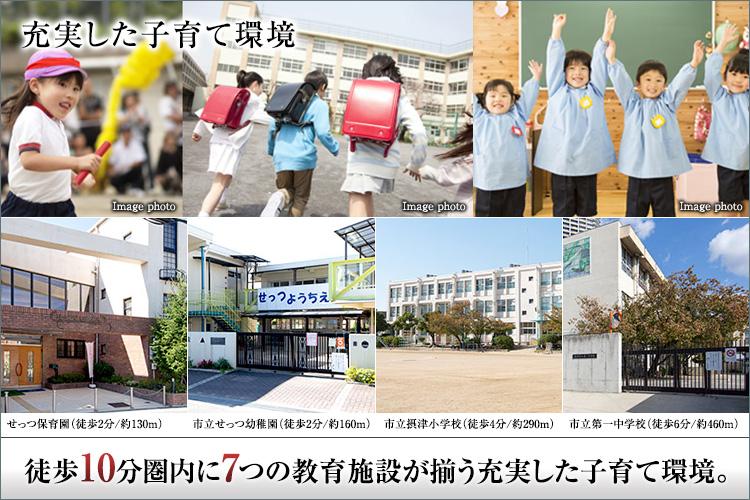 徒歩2分に市立せっつ保育園・せっつ幼稚園保育園、市立摂津小学校は徒歩4分、市立第一中学校は徒歩6分。さらに遊具のある広い公園が揃います。教育施設や公園への距離が近いことも子育てファミリーには安心です。