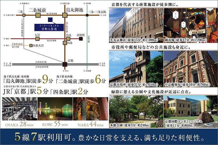 【地下鉄「烏丸御池」駅他5線7駅利用可】生活施設も充実。都心ならではの利便性。