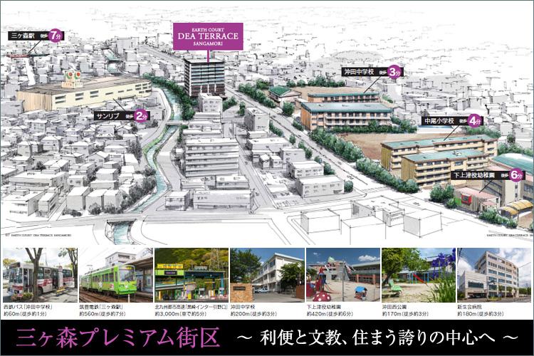 ■「三ヶ森」駅へ徒歩約7分、都心への快適なアクセスが将来価値につながります。