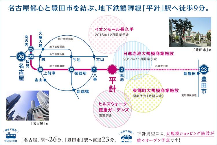「名古屋都心」と「豊田」を結ぶ地下鉄鶴舞線「平針」駅徒歩9分。