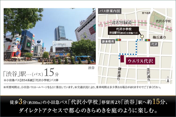 徒歩3分(約200m)の小田急バス「代沢小学校」停留所より「渋谷」駅へ約15分、