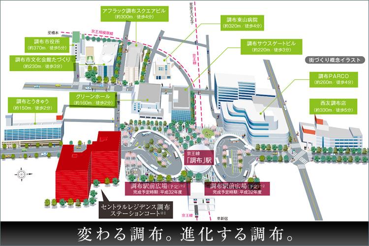 京王線の地下化に伴い生まれた調布駅上の百16,700m2ものスペース。