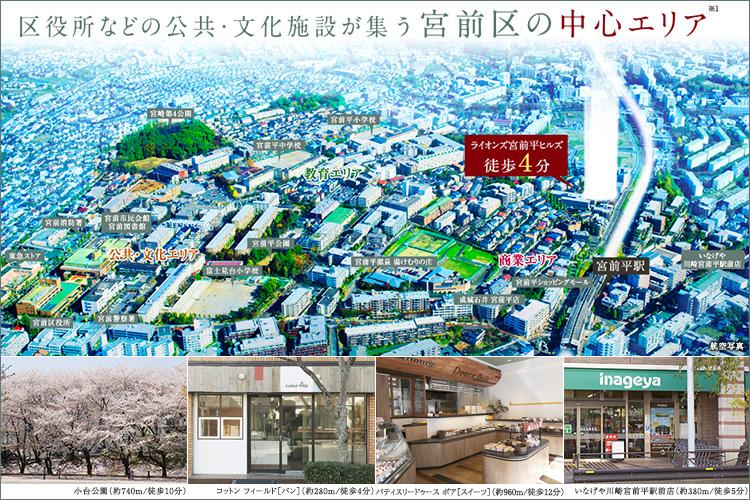 区役所などの公共・文化施設が整った「宮前区の中心エリア(※1)」