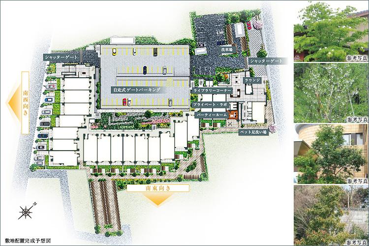 ●敷地内駐車場197台設置(他に来客用2台)、シャッターゲート(一部を除く)で愛車をガード。