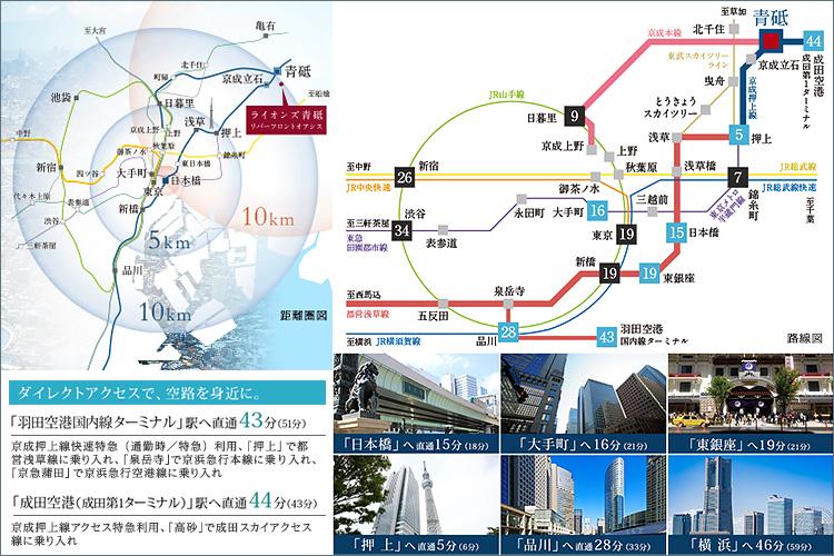 ■「日本橋」駅からおよそ10km圏内に位置する「青砥」。