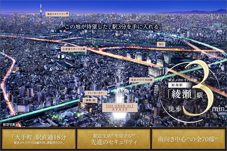 希少(※5)な「綾瀬」駅徒歩3分の地。待ち焦がれたその場所に住まう。