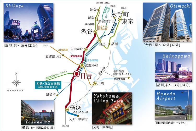 ■「渋谷」「横浜」直通の東横線、通勤特急が使える「日吉」駅。3路線利用で、都心方面もスムーズ。