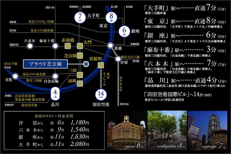 JR山手線を含む8駅7路線利用可。「大手町」も「六本木」もダイレクトに。