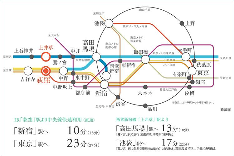 【JR中央線快速停車駅&東京メトロ丸ノ内線始発駅という、利便性が際立つ「荻窪」。】