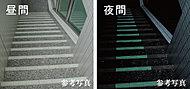 共用階段の段鼻部には、蓄光材をコーティングしたタイルを使用。夜間や停電時なども安心して昇降できます。