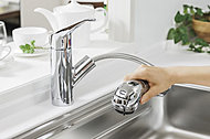 浄水器を内蔵したハンドシャワー水栓。浄水・原水の切替が簡単にでき、ホースも引き出せるので、シンクを隅々までお掃除できます。