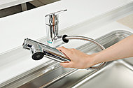 浄水器を内蔵したハンドシャワー水栓。ホースも引き出せるので、シンクの隅々までお掃除できます。