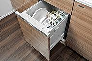 食器洗いが簡単で美しく仕上がる上、衛生的で節水効果のあるコンパクトタイプの食器洗い乾燥機を標準装備しました。※40A・40Bタイプを除く。