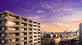 仙台駅徒歩7分、20階建て免震タワー。伸びやかな眺望と開放感を享受する住まい。※2015年9月撮影と合成