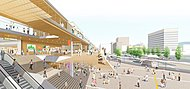 徳山駅自由通路付近 完成予想図【周南市提供】 約540m(徒歩7分)