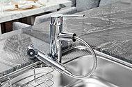 美味しい水がいつでも利用できる浄水器一体型。ヘッドは伸縮するので深鍋なども楽に洗えます。