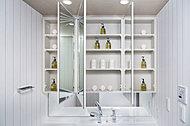 歯ブラシやヘアケア用品、化粧品などをしまえる鏡裏収納。圧迫感のない薄型収納です。
