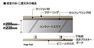 床スラブのコンクリート厚は約200~230mm以上を確保(一部除く)。天井も二重構造にするなど下階への生活音の伝わりを軽減しています。