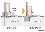 柱や梁などのフレームを室外に出す設計です。アウトフレーム設計では室内側がすっきり、デッドスペースなどが発生しないので空間を有効に使えます。