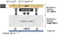床には床面と床スラブとの間に緩衝空間を設けた二重構造を採用。床スラブのコンクリート厚は約200mm~255mm(最下階除く)を確保。