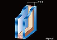 各住戸の開口部のサッシには、2枚のガラスの間に空気層を設けた複層ガラスを採用。1枚ガラスに比べ、断熱性・気密性が高まります。(一部除く)