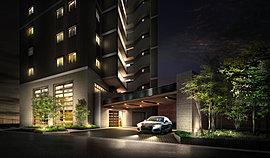 オーナーの美意識に応える、ホテルライクな空間演出。オーナーやゲストを優雅に迎え入れるメインエントランスには、格調高い雰囲気と包容力を感じさせるような奥行を表現。