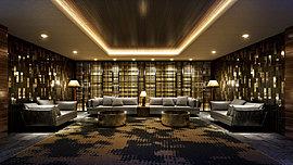 大型ソファを配したラウンジスペースをご用意。ゴールドとブラックのコントラストで和モダンを感じさせる壁面格子や石模様をデザインした磨きタイルをランダムに貼った柱など、ホテルのラウンジで寛いでいるような心地よい安らぎを享受いただけます。