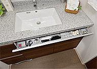 洗面ボウルの下がパタッと開き、小物の整理に便利な収納です。また、しまうものに合わせて仕切りプレートが移動できます。