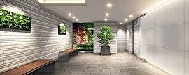 迎賓の間となるエントランスホールは広がりと美意識を満喫できる空間となるように演出しました。機能性と同時にホテルライクな気品と風格も漂う内廊下、安全に配慮した歩車分離動線やセキュリティなど、共用部の随所にまで思いやりに満ちたプランです。