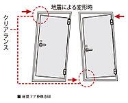 玄関ドアとドア枠との間には、クリアランス(隙間)を確保。ドア枠が多少変形した場合でも、扉が開閉できるよう配慮しています。