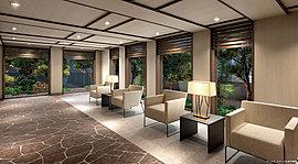 リゾートフルな上質と心地よさを求めた、欧風建築様式。ウッドフレームをデザインのアクセントに、天井まで細やかに造り込んだ風除室とエントランスホール。床には天然石を用い、自然の質感あふれる濃厚な空間をプロデュースしました。