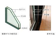屋内外の温度変化を伝えにくくするため、サッシのガラス間に空気層を設けた複層ガラスを採用。