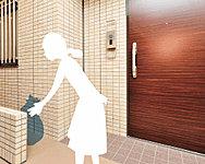 指定日時に各住戸の玄関先のスペースにゴミ袋(粗大ごみ以外のゴミ)を出しておけば、契約業者がお客様に代わって回収・処分いたします。