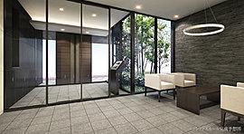 寛ぎを紡ぐ、静粛の空間美。ソファを設置した優雅なエントランスホールは、住まう方やゲストをゆったりとお迎えするホスピタリティに溢れた空間です。