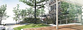 繋がり、安心、笑顔・・・公園が育むヒューマンループ 近隣に欠けている交流の場を補うために、コミュニケーションが生まれ未来に続いていくヒューマンループをテーマとした公園を敷地内に設置。
