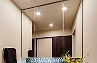 扉を開ければ洗面用具や化粧品などを収納できるスペースに。散らかりがちな洗面台廻りを美しく保ちます。