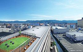屋上には、開放感に包まれて360°の雄大な景色を愉しむテラスを設置しました。