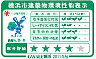 第三者機関によって建築物の環境性能を総合的に評価する横浜市建築物環境配慮制度に基づき、「CASBEE横浜」による評価でAランクの評価です。