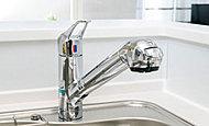 浄水器でいつでも衛生的でおいしい水がご利用いただけるように、蛇口一体型の浄水器を設置しました。※カートリッジ交換は自己負担となります。