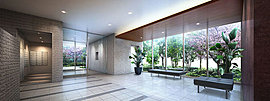 共用スペースにも、快適と安心をしつらえる。外構のソメイヨシノや緑を、ガラスウォール越しに臨むエントランスホールをはじめ、共用空間には、ライフシーンを優雅に演出する様々な工夫を施しています。