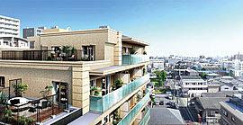※掲載の外観完成予想CGは、現地9階相当の高さから東方面を望む眺望写真(平成27年10月撮影)に、外観完成予想CGを合成したもので、実際の眺望とは異なります。また、眺望は階数・向き・住戸タイプにより異なります。