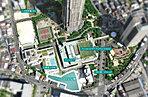 空撮写真 ※平成28年8月に撮影した航空写真にCG処理を施したもので、実際とは異なります。また、現地の位置を表現した光は建物の規模や高さを示すものではありません。